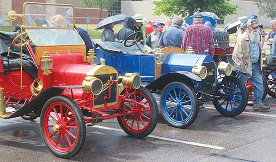 The New London to New Brighton Antique Car Run may have been wet, but the turnout was still strong.